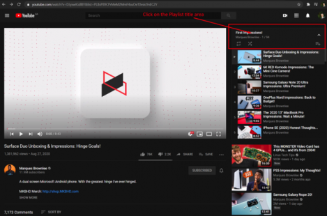Step1. Open your YouTube playlist and click the playlist name on the right-hand side: