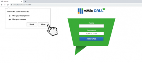 Step2. vMixcall will require access to your camera and microphone. Click ALLOW.